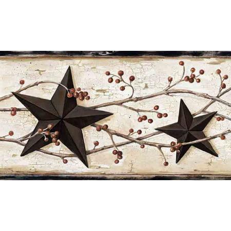 Brewster FFR65365B Ebony Heritage Tin Star Border - Little Star Wall Border