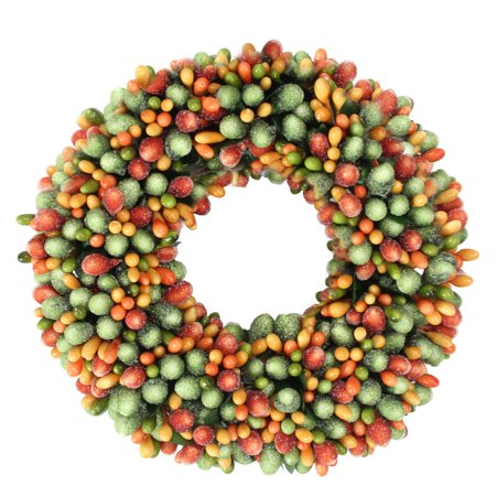 "6.5"" Green and Orange Fall Autumn/Thanksgiving Berry Candle Ring"