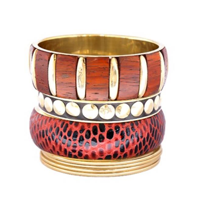 C Jewelry Red Leather Inlays With Wood Gold Bangles, Set Of 7 Pieces