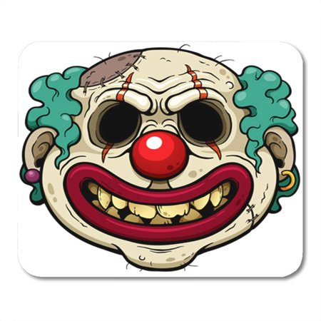 SIDONKU Colorful Horror of Cartoon Clown Zombie Face Joker Scary Evil Creepy Adult Clip Mousepad Mouse Pad Mouse Mat 9x10 inch