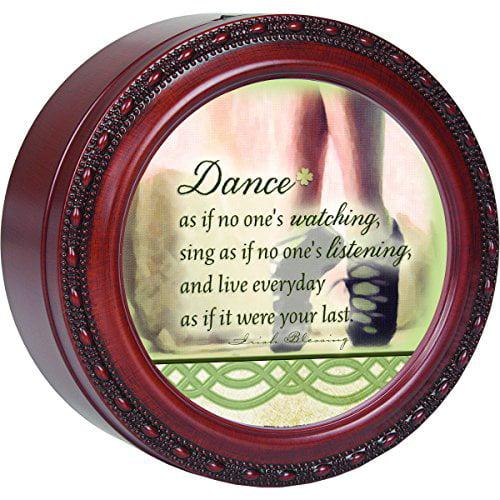 Dance As If.. Round Wood Finish Jewelry Music Box Plays Tune Irish Eyes Smiling by
