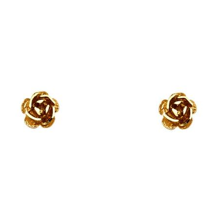 14k Rose Gold Rose Stud Earrings Flower Diamond Cut Post Studs Diamond Cut Design Small 7 x 7 mm