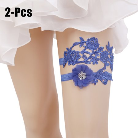 Handmade Wedding Garter - 2PCS Wedding Garter Handmade Flower Elastic Bridal Garter Wedding Garter Belt for Women