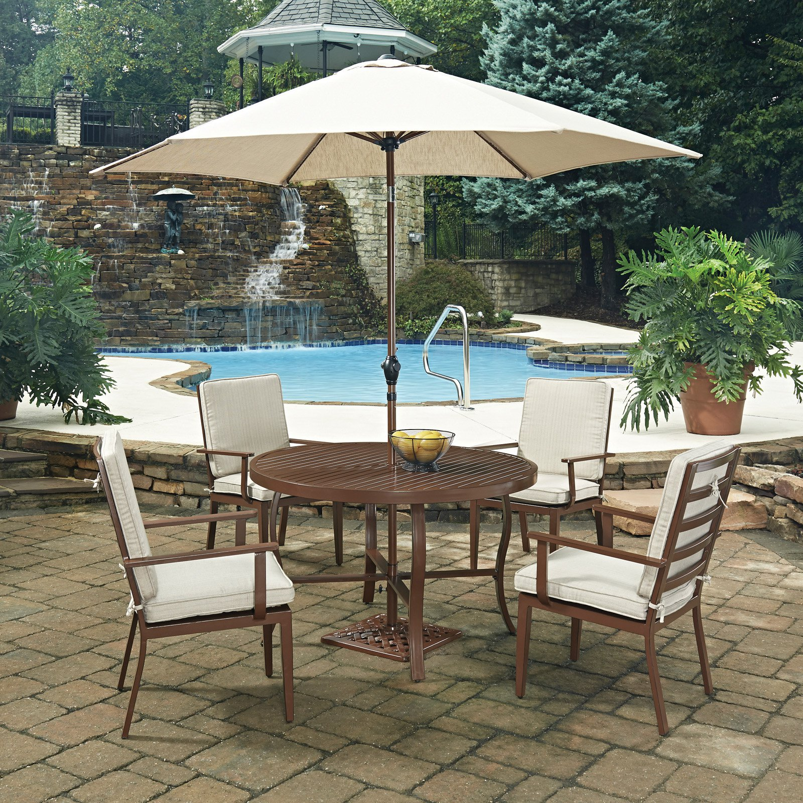 Key West  7 Pc. Round Outdoor Dining Table& 4 Chairs, with Umbrella & Base