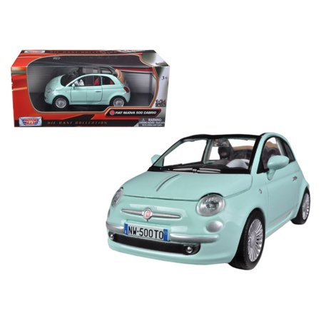 Fiat 500 Nuova Cabrio Green 1/24 Diecast Car Model by (Best Fiat 500 Model)