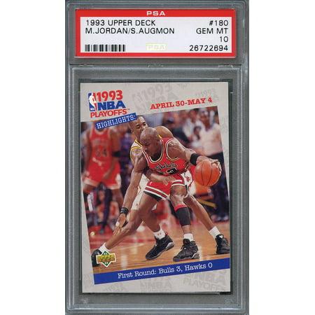 1993-94 upper deck #180 MICHAEL JORDAN - STACY AUGMON chicago bulls PSA 10 Chicago Bulls 1998 Upper Deck