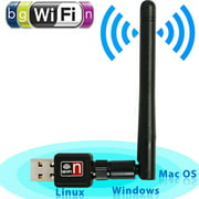 150Mbps Mini Wireless USB Dual Band WIFI Adapter Dongle w/Antenna Network Receiver Card for PC Desktop Laptop Computer
