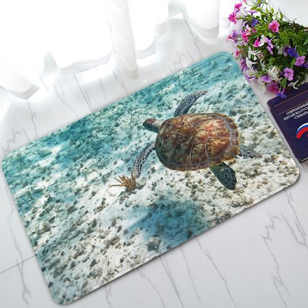 PHFZK Animal Doormat, Green Turtle in Nature of Caribbean Sea Doormat Outdoors/Indoor Doormat Home Floor Mats Rugs Size 30x18 inches