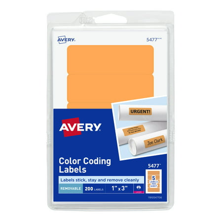 Avery Self-Adhesive Removable Labels, 1 x 3 Inches, Orange Neon, 200 per Pack (05477)