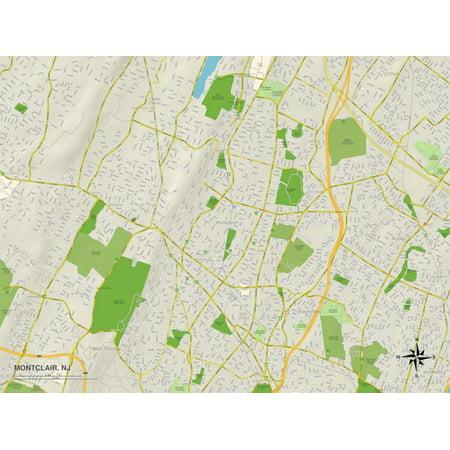 Political Map of Montclair, NJ Print Wall Art