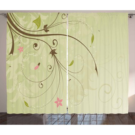 Green And Brown Curtains 2 Panels Set Floral Arrangement With
