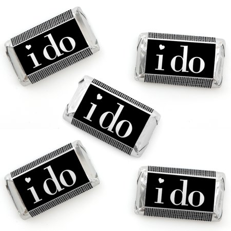 I Do - Mini Candy Bar Wrapper Stickers - Wedding or Bridal Shower Small Favors - 40 Count