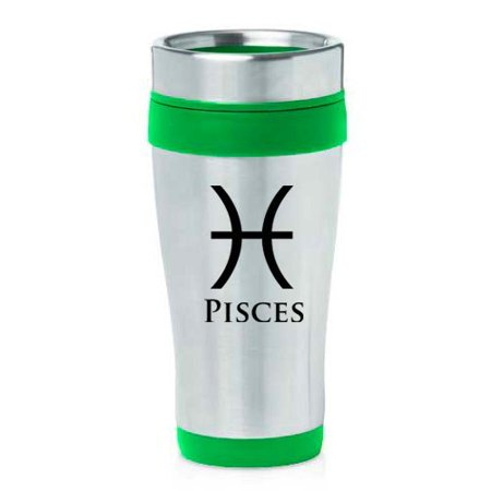 16Oz Insulated Stainless Steel Travel Mug Horoscope Zodiac Birth Sign Pisces  Green   Mip