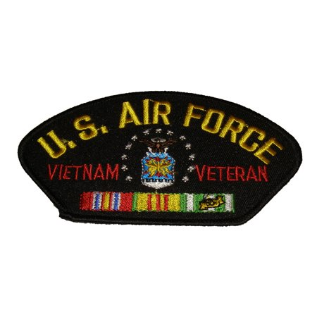 U S AIR FORCE VIETNAM VETERAN with SHIELD and SERVICE RIBBONS PATCH - Great Color - Veteran Owned Business ()