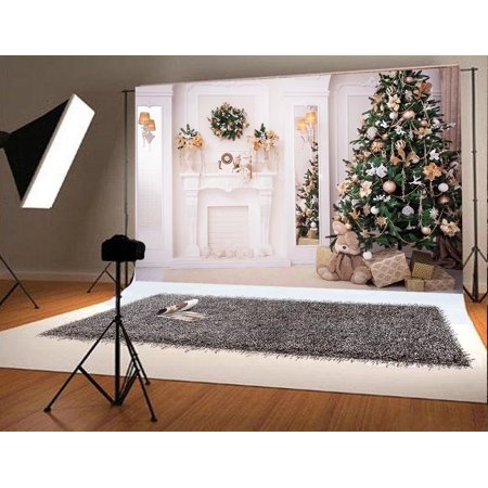MOHome Polyster 7x5ft Green Christmas Tree Photo Backgrounds White Fireplace Cute Rabbit Gift Photography Backdrops for (Rabbit Photo Gift)
