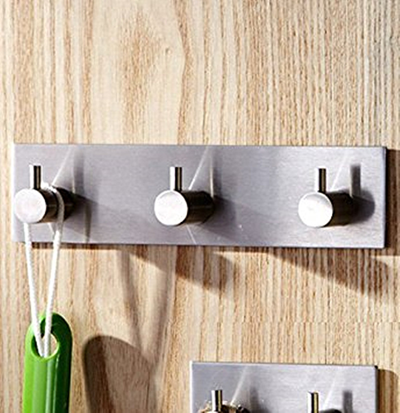 SUS 304 Stainless Steel Bath Hooks with 3 Prongs,Shower Kitchen Wall Mounted Coat Hooks Hanger - image 3 de 4