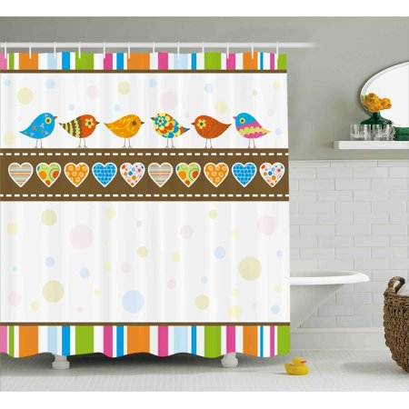 Valentines Day Decor Shower Curtain, Cute Chubby Birds with Colored Hearts and Stripes Abstract Dots Image, Fabric Bathroom Set with Hooks, 69W X 70L Inches, Multicolor, by Ambesonne - Cute Chubby Teen