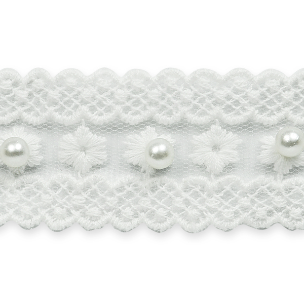 """Expo Int'l 5 yards of 1 1/4 """" Vintage Flower w/Pearl Bridal Lace Trim"""