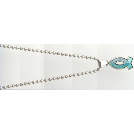 Pendant-Mother of Pearl Ichthus-Blue-On 18 In Chain ()