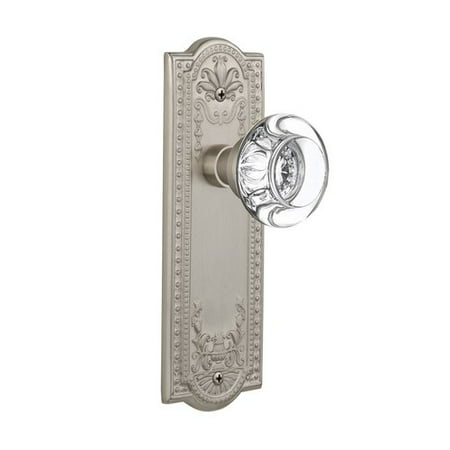 Nostalgic Warehouse Round Clear Crystal Glass Double Dummy Door Knob with Meadows Plate