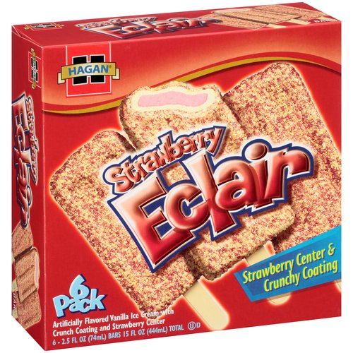 Hagan Strawberry Eclair Ice Cream Bars, 2.5 fl oz, 6 count