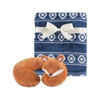 Hudson Baby Boy and Girl Travel Neck Support Pillow and Blanket Set, 2 Piece, Modern Fox
