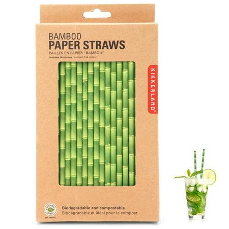 144 x Kikkerland Bamboo Design Paper Straws Biodegradable Retro Drinking Parties