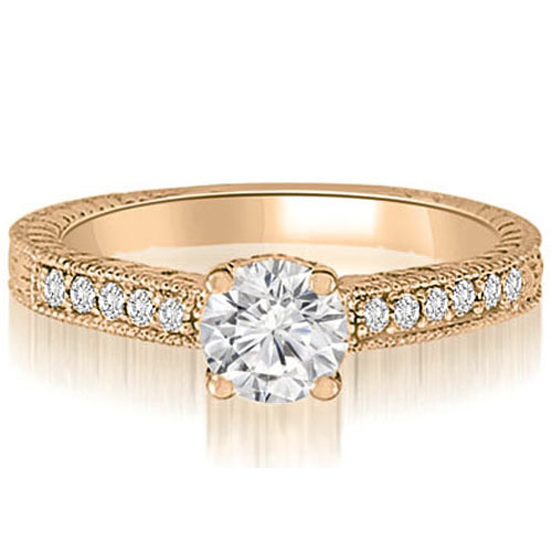 0.65 CT.TW Antique Milgrain Round Cut Diamond Engagement Ring in 14K White, Yellow Or Rose Gold