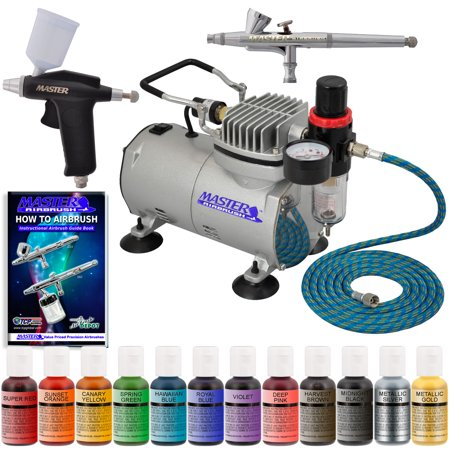 Super Deluxe CAKE DECORATING AIRBRUSH SYSTEM KIT SET w-Compressor 12 ...
