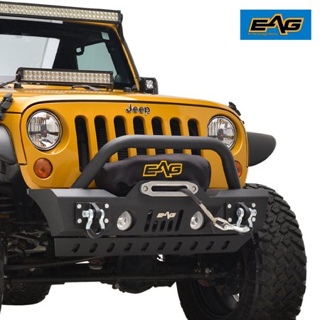EAG EAG Front Bumper Stubby with Skid and Winch Plate for 07-18 Jeep Wrangler JK Offroad