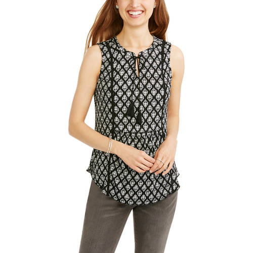 Women's Floral Print Peasant Tank With Front Tassels
