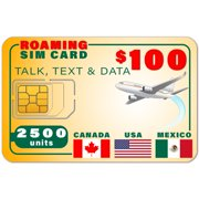 USA Canada Mexico GSM SIM Card - Rollover 2500 Minutes Talk Text Data 1 Year Wireless Service