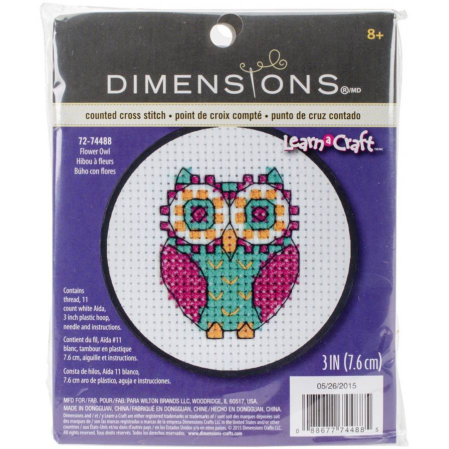 "Learn-A-Craft Flower Owl Counted Cross Stitch Kit, 3"" Round, 11 Count"