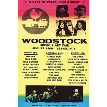 Woodstock Line-Up 1969 36x24 Art Print Poster   - 3 Days of Peace love and Music Concert Poster