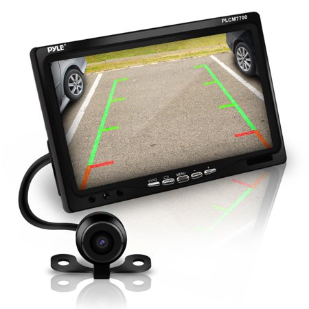 PYLE PLCM7700 - Backup Rear View Car Camera Screen Monitor System - Parking & Reverse Safety Distance Scale Lines, Waterproof, Night Vision, 170° View Angle, 7