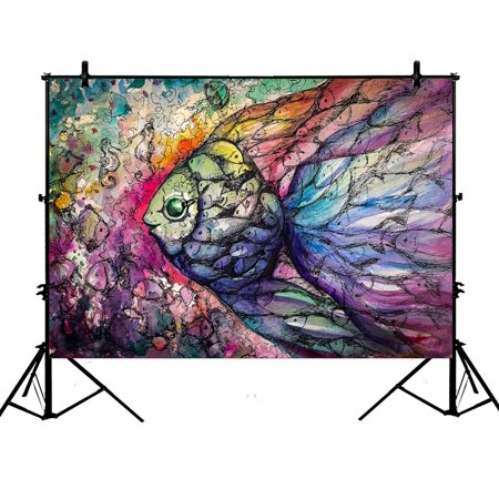 PHFZK 7x5ft Abstract art Ocean Animal Backdrops, Fish on the Coral Reef Photography Backdrops Polyester Photo Background Studio Props - Coral Reef Backdrop