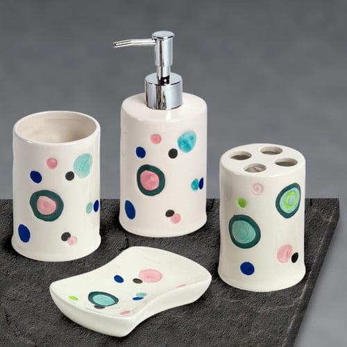 Popular Bath Bubble Gum Complete 4-Piece Bathroom Accessory Set