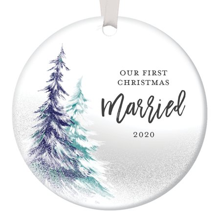 Our First Christmas 2020, 1st Married Ornament, Best Wedding Gifts for Couple Xmas Mr and Mrs Together Man Woman Gay Present Ceramic 3