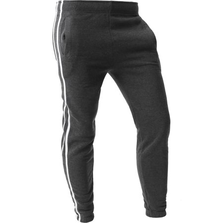 Mens Stripe Jogger Pants Lightweight Training Sweatpants Fleece Casual Elastic Athletic