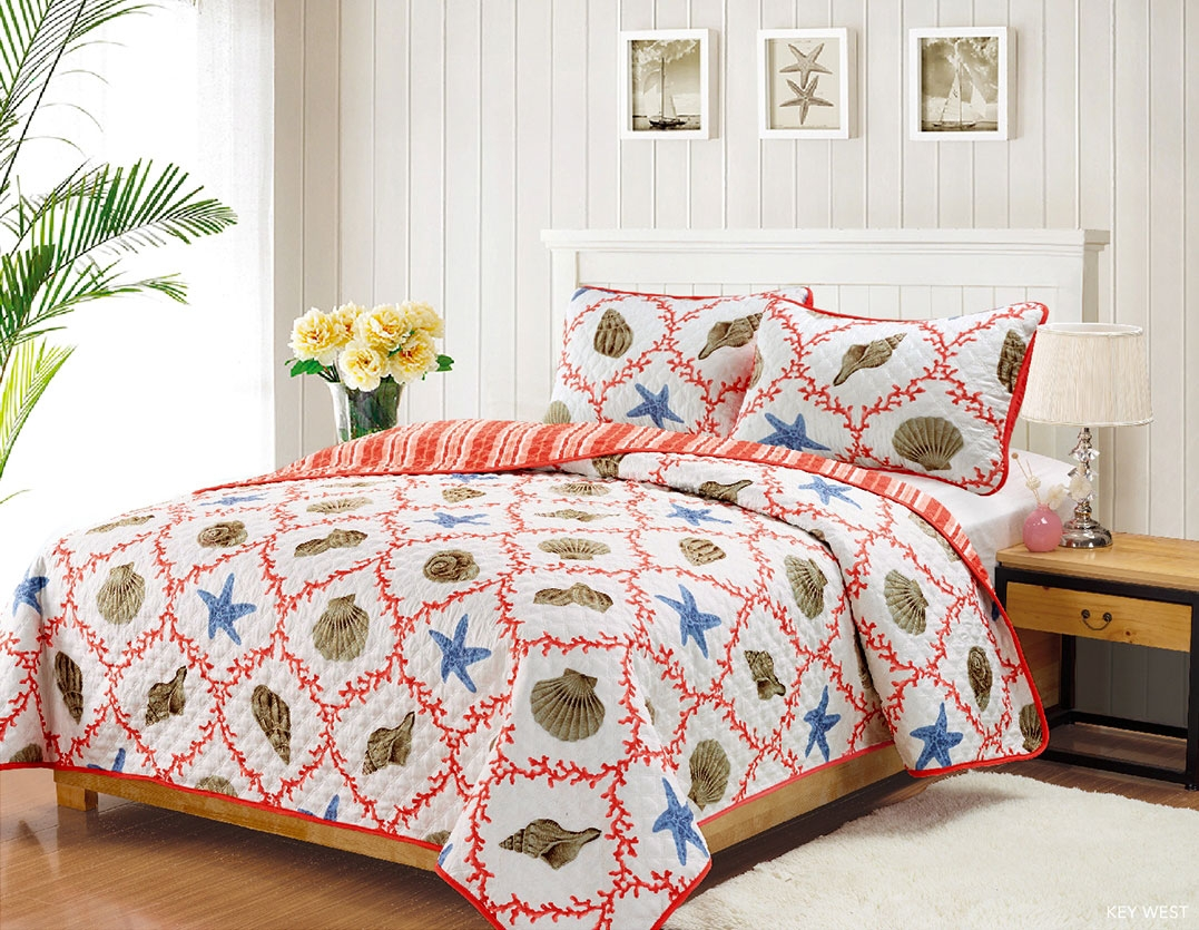 King Quilt Set Coastal Starfish Seashell Coverlet Bedspread, Coral, Blue and Tan by HowPlumb