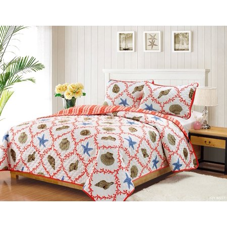 King Quilt Set Coastal Starfish Seashell Coverlet Bedspread Coral Blue And Tan