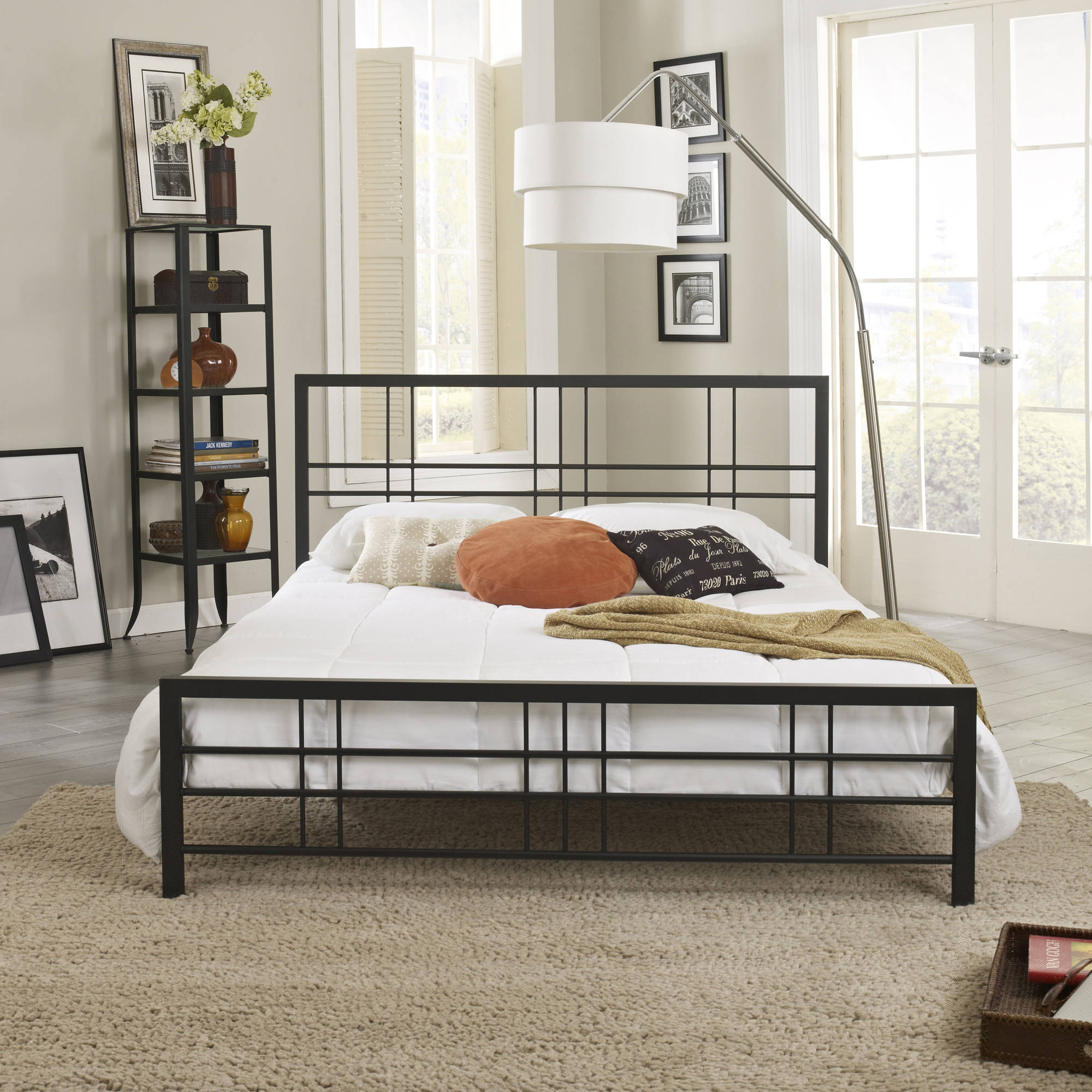 Premier Morgan Metal Platform Bed with Bonus Base Wooden Slat Support, Multiple Sizes
