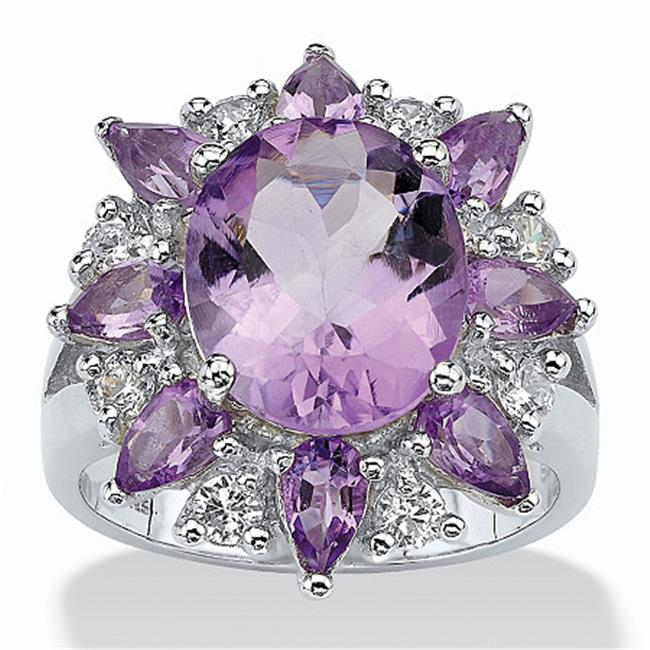 PalmBeach Jewelry 412359 6. 70 TCW Oval Cut Purple Genuine Amethyst White Genuine Amethyst Accent Sterling Silver Ring