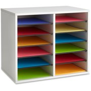 Safco, Adjustable 12-Slot Wood Literature Organizer, 1 / Each, Gray