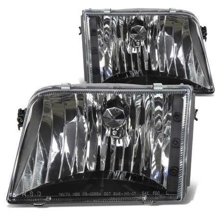 For 1993 to 1997 Ford Ranger Replacement Headlight Black Housing Headlamp 94 95 96 Left+Right
