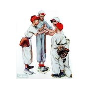 Four Sporting Boys: Baseball Americana Classic Nostalgia Illustration Print Wall Art By Norman Rockwell