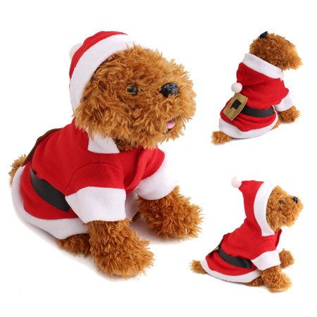 Christmas Decor Cat Pet Puppy Dog Christmas Santa Claus Clothes Christmas Costume Coat Apparel 4 Size
