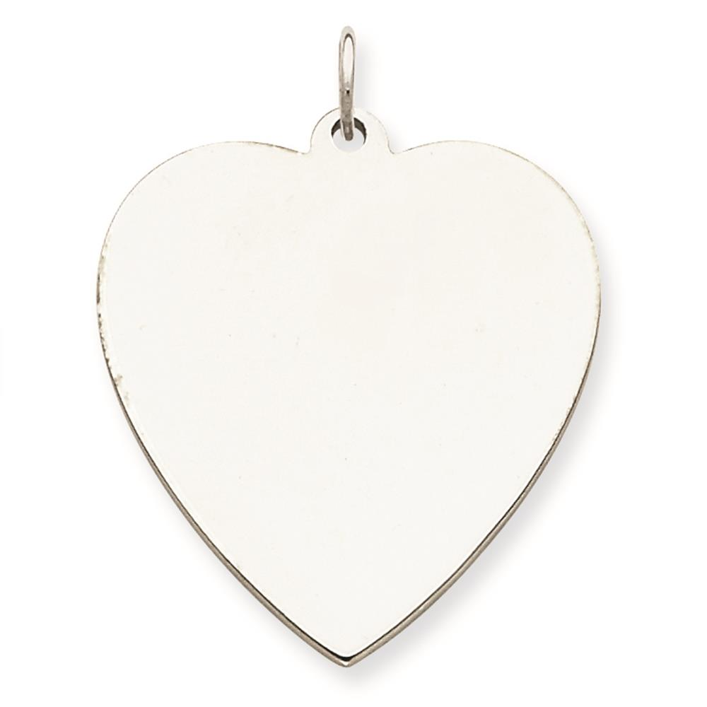 925 Sterling Silver Engravable Polished Heart Disc Charm Pendant 27mmx25mm