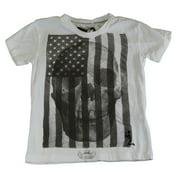 RELIGION Boy's White Skull/Flag Printed Short Sleeve Shirt BT12SKF02 6-7 Yrs NEW
