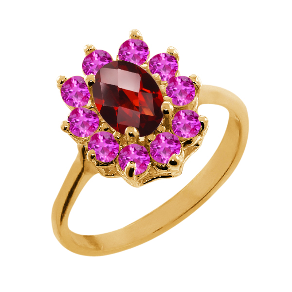 1.30 Ct Oval Checkerboard Red Garnet Pink Sapphire 14K Yellow Gold Ring by